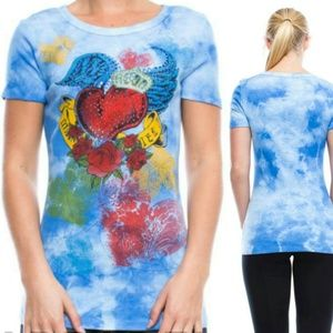 Vocal Crystal Bling Winged Heart Sky Blue Tie Dye
